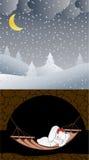 Ilustración del vector Invierno conejito Sueño dulce stock de ilustración