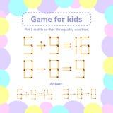Ilustración del vector juego de la matemáticas para los niños Ponga 1 tha del matchstick tan ilustración del vector