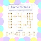 Ilustración del vector juego de la matemáticas para los niños Ponga 1 tha del matchstick tan stock de ilustración