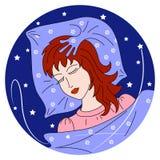 Ilustración del vector La muchacha está durmiendo en un amortiguador suave ilustración del vector