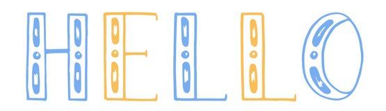 Ilustración del vector letras del drenaje de la mano del color hola Fondo blanco Amarillo y azul ilustración del vector