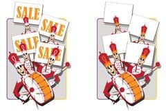 Ilustración del vector Orquesta militar divertida con los carteles Imagen de archivo libre de regalías