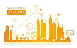 Ilustración del vector Paisaje urbano Fondo de las propiedades inmobiliarias Diseño de Infographic Día de la ciudad Foto de archivo