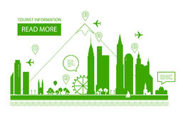 Ilustración del vector Paisaje urbano Fondo de las propiedades inmobiliarias Diseño de Infographic Día de la ciudad Imagen de archivo libre de regalías