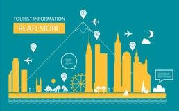Ilustración del vector Paisaje urbano Fondo de las propiedades inmobiliarias Diseño de Infographic Día de la ciudad Fotos de archivo libres de regalías