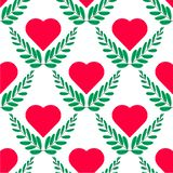Ilustración del vector Plantilla plana del logotipo de la hoja y del corazón en el fondo blanco Corazón inconsútil del modelo ilustración del vector