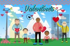 Ilustración del vector Postal el día de tarjeta del día de San Valentín con los caracteres Fotos de archivo libres de regalías