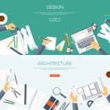 Ilustración del vector Proyecto arquitectónico plano Edificio del trabajo en equipo y construcción de planificación Mano del lápi ilustración del vector