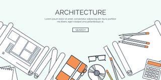 Ilustración del vector Proyecto arquitectónico plano Edificio del trabajo en equipo y construcción de planificación Mano del lápi stock de ilustración