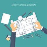 Ilustración del vector Proyecto arquitectónico plano Edificio y planeamiento del trabajo en equipo construcción Lápiz con la mano ilustración del vector
