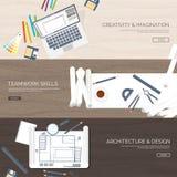 Ilustración del vector Proyecto arquitectónico plano Trabajo en equipo Planeamiento del edificio construcción Lápiz a disposición stock de ilustración