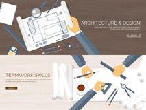 Ilustración del vector Proyecto arquitectónico plano Trabajo en equipo Planeamiento y construcción constructivos Lápiz Configurac libre illustration