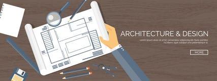 Ilustración del vector Proyecto arquitectónico plano Trabajo en equipo Planeamiento y construcción constructivos Lápiz Configurac stock de ilustración