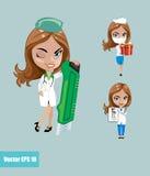 Ilustración del vector Sistema de doctores o de la enfermera en diversas actitudes Imagen de archivo libre de regalías