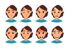 Ilustración del vector Sistema de emoción de las mujeres Fije para su diseño Icono plano Personaje de dibujos animados fotos de archivo