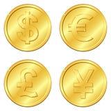 Ilustración del vector Sistema de monedas de oro con 4 monedas importantes Libra esterlina del dólar, del euro, Yuan o yenes viru Imagen de archivo