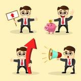 Ilustración del vector Sistema del hombre de negocios en diversas actitudes Imagen de archivo