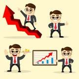 Ilustración del vector Sistema del hombre de negocios en diversas actitudes Fotografía de archivo libre de regalías