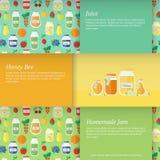Ilustración del vector Tarjetas con los tarros de jugo y de atasco de la miel Fotos de archivo