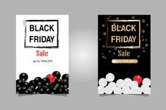 Ilustración del vector Texto de lujo de la bandera de las ventas de Black Friday del sistema para el folleto, el aviador y la ban stock de ilustración