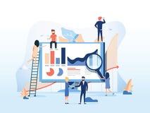 Ilustración del vector Trabajo en equipo creativo La gente está construyendo un proyecto del negocio sobre Internet La pantalla d libre illustration