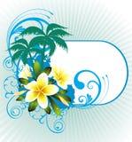 Ilustración del verano con las palmas y las flores