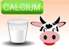Ilustración del vidrio y de la vaca de leche Fotografía de archivo