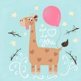 Ilustración divertida de la jirafa Impresión para usted idea ilustración del vector