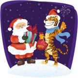 Ilustración divertida de Santa y del tigre Stock de ilustración