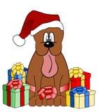 Ilustración divertida del perro con los regalos de la Navidad Foto de archivo libre de regalías