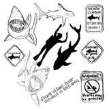 Ilustración drenada mano Tiburones, buceadores Imagen de archivo