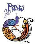 Ilustración e insignia del pavo real Fotografía de archivo libre de regalías