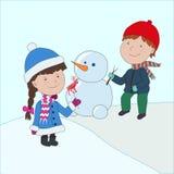 Ilustración Editable del vector Muchacho y muchacha en capa y sombrero con Imagenes de archivo