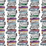 Ilustración educativa Estudio, sesión, biblioteca, vida del estudiante Modelo inconsútil Imagen de archivo