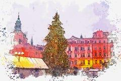 Ilustración El árbol de navidad adornado se coloca en la plaza principal en Praga