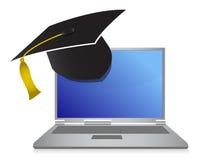 Ilustración en línea del concepto de la graduación de la educación Imagen de archivo libre de regalías