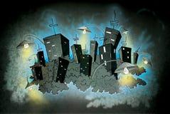 Ilustración encendida noche de neón de la ciudad stock de ilustración