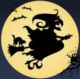 Ilustración espeluznante con la bruja, gato, buho, luna y Fotografía de archivo