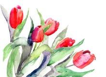 Ilustración estilizada de las flores de los tulipanes Fotos de archivo libres de regalías