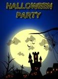Ilustración fantasmagórica de la invitación del partido de Víspera de Todos los Santos Imagen de archivo libre de regalías