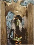 Ilustración fantasmagórica del Goblin de la bruja de Víspera de Todos los Santos Imagen de archivo