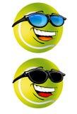 Ilustración feliz de la historieta de la pelota de tenis Fotos de archivo libres de regalías