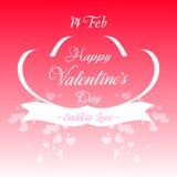 Ilustración feliz de la tarjeta de felicitación del día de tarjetas del día de San Valentín Foto de archivo