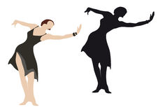 Ilustración femenina del bailarín Foto de archivo