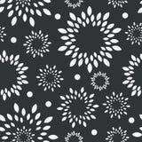 Ilustración floral blanco y negro de background Inconsútil inconsútil del vector monocromático de la flor Fotografía de archivo