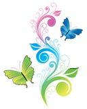 Ilustración floral de la mariposa Imagen de archivo libre de regalías
