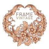 Ilustración floral de la vendimia frame Fotografía de archivo