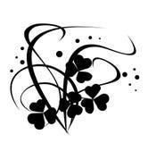 Ilustración floral negra en blanco Fotos de archivo libres de regalías