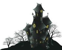 Ilustración frecuentada asustadiza de la casa y de los árboles stock de ilustración
