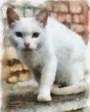 Ilustración, gato blanco stock de ilustración